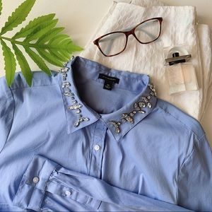 ANN TAYLOR Jeweled Collar Button Up Shirt